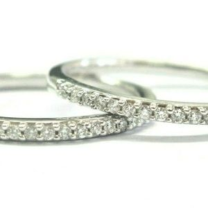 Jewelry - 18Kt Round Cut Diamond White Gold Band ( 2 ) Rings